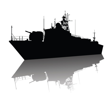 cold war: Soviet  russian  anti-submarine  corvette silhouette Illustration