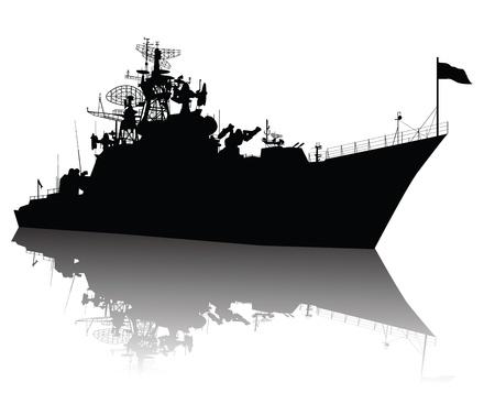navy ship: Sovi�tica de Rusia de misiles guiados crucero de la silueta Vectores