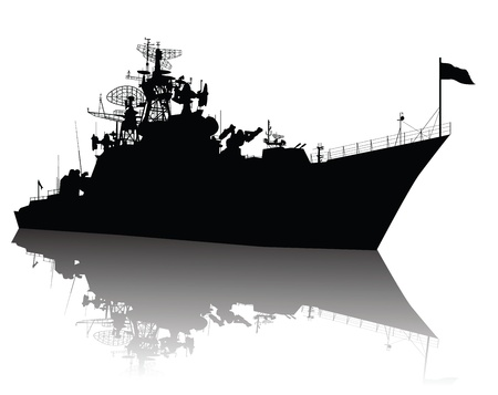 cold war: Soviet  russian  guided missile cruiser  silhouette Illustration
