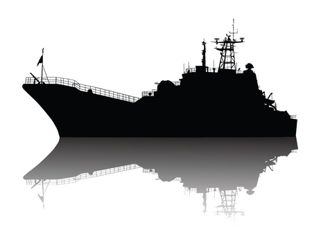 Soviet  russian  landing ship silhouette  Stock Vector - 12851007