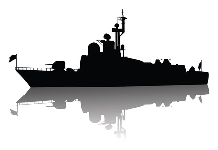 cold war: Soviet  russian  missile boat  silhouette  Vector on separate layers