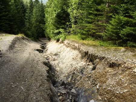 Cracked road in Carpatian mountains photo