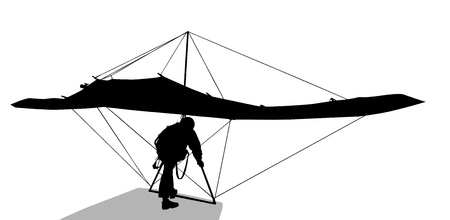 glider: Silhouette of hang glider waiting to take off