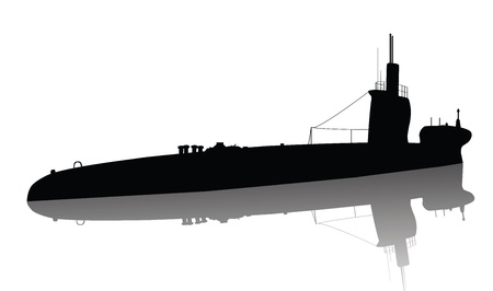 warship: Detailed submarine silhouette  Vector