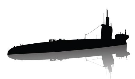 Detailed Vector silhouette sottomarino Vettoriali
