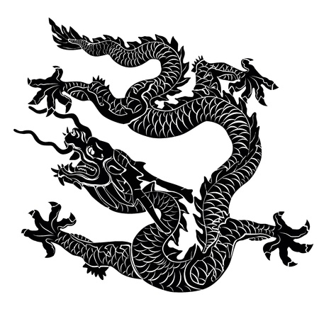 tribal dragon: Black dragon isolated illustration