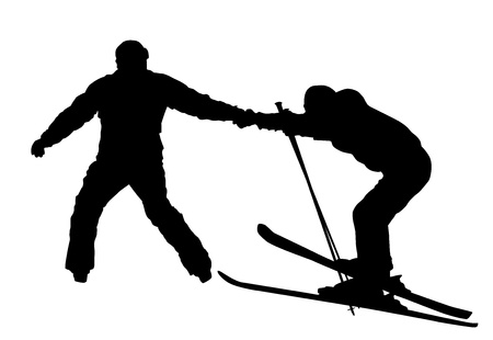 beginner: Beginner ski silhouettes Illustration