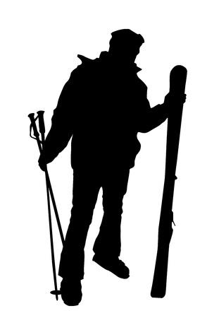 Skier silhouet geïsoleerd