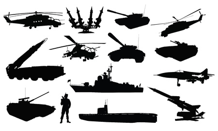 High detailed soviet  russian  military silhouettes  Vector