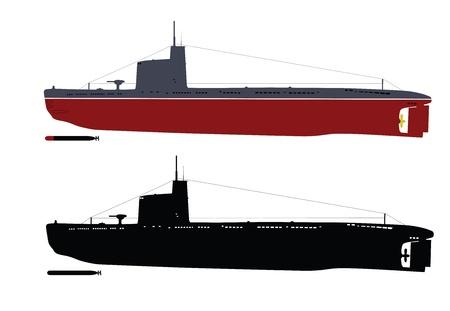 submarino: Soviética M-submarino de la clase Malyutka ilustración en color negro y blanco capas separadas