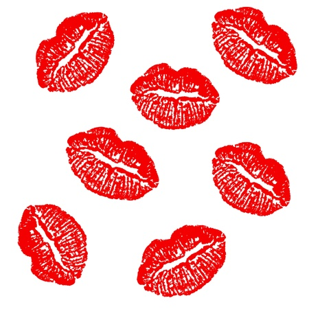Red lipstick prints isolated  Seamless Vector