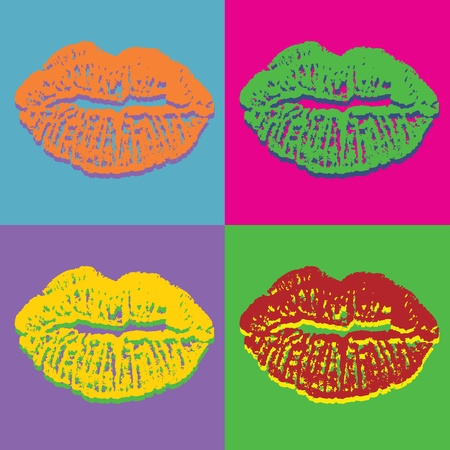 kiss lips: Pop art style lips