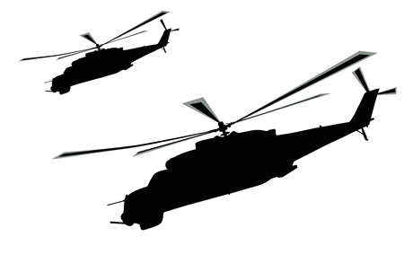 Flying helicopters silhouette Stock Vector - 12956220