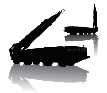 rocket bomb: Silhouette of  Scud missile launcher