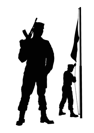 ak 74: Soldiers silhouette