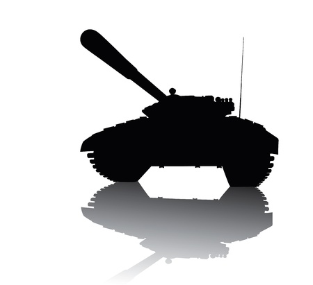 battle tank: Tank silhouette with reflection