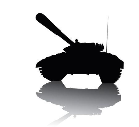 tanque de guerra: Tanque de la silueta con la reflexión