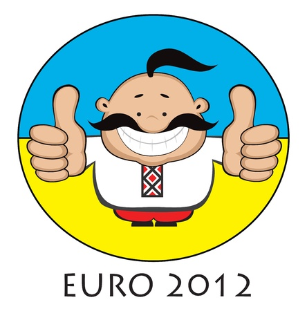 Smiling cartoon man  cossack in ukrainian traditional clother with soccer ball  showing thubms up  Ukrainian flag in background  Separate layers  Stock Photo - 12956218