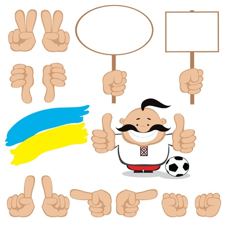 Smiling cartoon man with gestures and blank signs set  Euro 2012 design  Separate layers  Vector