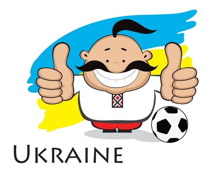 Smiling cartoon man  cossack in ukrainian traditional clothes with soccer ball  showing thumbs up  Ukrainian flag in background  Separate layers  Illustration