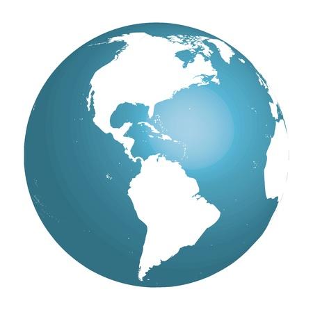 Blauwe wereldbol met Zuid-en Noord-Amerika Vector 3d