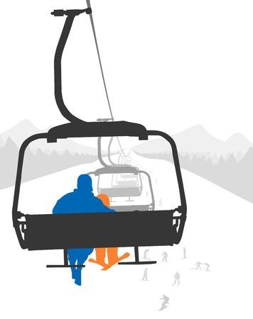 ski jump: Silhouettes of adult and kid skier riding ski lift   Vector Illustration