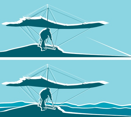 glider: Silhouette of hang glider waiting to take off  Mountains  and blue sky on background  Separate layers