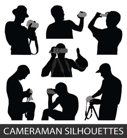 beginner: Silhouettes of people taking pictures Illustration