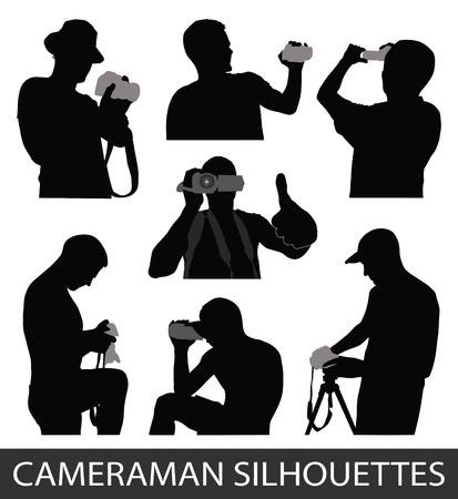 amateur: Siluetas de la gente que toma fotos Vectores