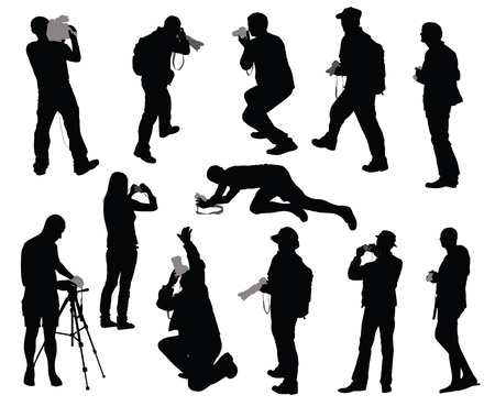 Silhouettes of people taking photos Vector