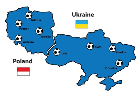 wroclaw: Poland and Ukraine map  Separate layers Illustration