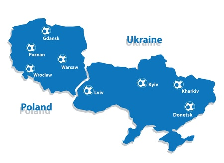 wroclaw: Euro 2012 host countries map  Poland and Ukraine  Separate layers