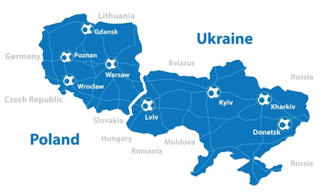 host: Euro 2012 host countries map  Poland and Ukraine  Separate layers