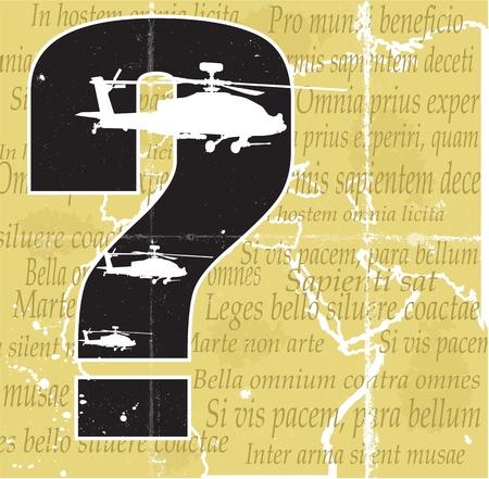 phrases: Helic�pteros, qestion marca y el viejo mapa con frases latinas sobre las capas de la guerra por separado Vectores
