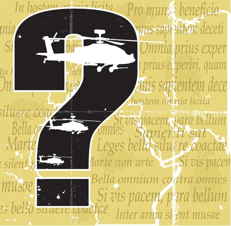 phrases: Helicopters, qestion mark and old map with latin phrases  about war  Separate layers Illustration
