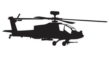desert storm: Vector silhouette of AH-64 Apache Longbow helicopter  Stock Photo