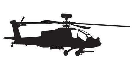 apache: Vector silueta de helic�ptero AH-64 Apache Longbow