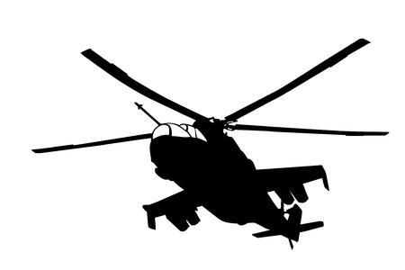 military helicopter: Flying Mi-24  Hind  helicopter silhouette  Vector
