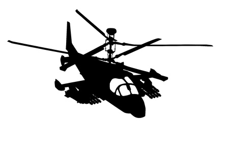 military helicopter: Russian Ka-52  Hokum B  attack helicopter silhouette  Vector Stock Photo