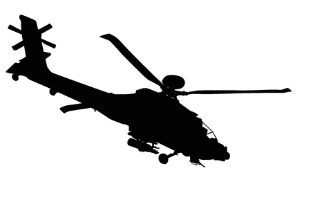 military helicopter: Vector silhouette of AH-64 Apache Longbow helicopter