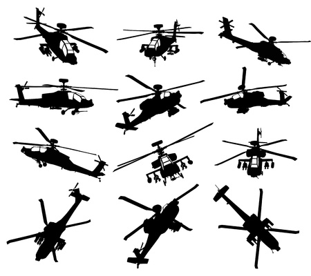 vehicle combat: AH-64 Apache Longbow helicopter silhouettes set. Vector on separate layers.