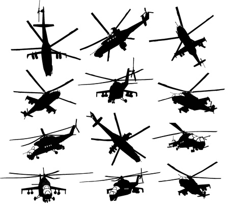 hind: Mi-24 Hind combat helicopter silhouettes set. Vector on separate layers. Illustration