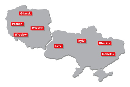 gdansk: Euro 2012 host countries map  Poland and Ukraine  Separate layers