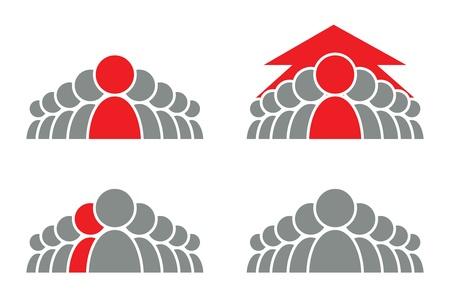 teamleider: Gestileerde groep mensen en pijl vector pictogram Stock Illustratie