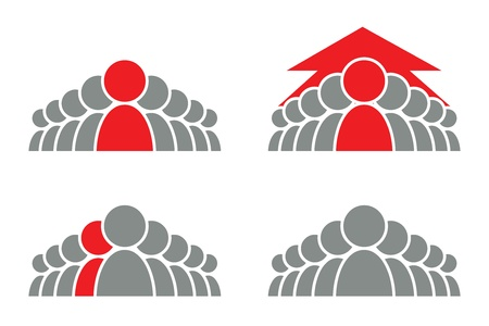Stylized group of people and arrow  Vector icon  Illustration