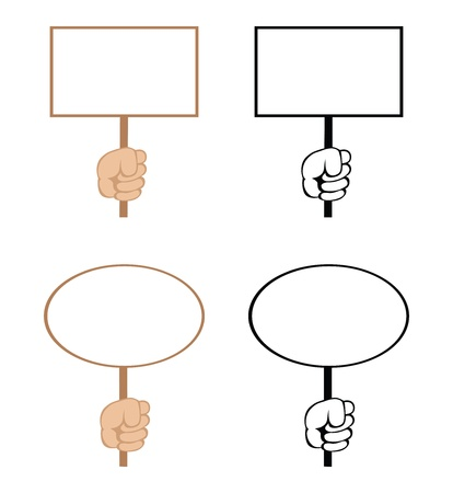 Cartoon hands with empty rectangular and ellipse blank signs. Vector. Vector