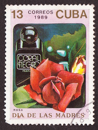 CUBA - CIRCA 1989 A post stamp printed in Cuba divided to Mother s Day and shows red rose , circa 1989