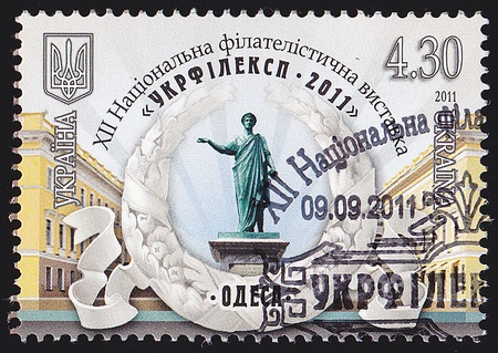 "duke: UKRAINE - CIRCA 2011  A post stamp printed in Ukraine shows Monument to Duke de Richelieu with the inscription in Ukrainian ""Ukrfileksp 2011 – XII National Philatelic Exhibition – Odessa"", circa 2011"