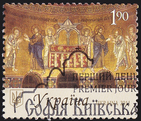 acirc: UKRAINE - CIRCA 2011  A post stamp printed in Ukraine shows Ancient Church Murals with the inscription in Ukrainian & acirc,1000 Years of Saint Sophia Cathedral , circa 2011  Stock Photo