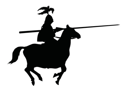 Detailed silhouette of knight with lance on horseback Vector